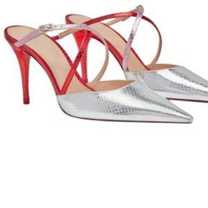 Zara silver and red pointy toe heeled mule 7.5